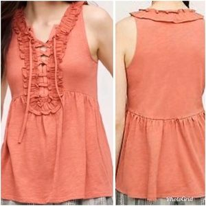 Deletta | Lace-Up Ruffle Sleeveless Peplum Top XS